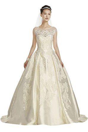 08988947d814 Source: Mikado Oleg Cassini Illusion Cap Sleeve Wedding Dress Style CWG701  at Amazon Women's Clothing store: