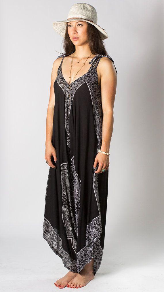 6ad4efdfda17b Wide Leg Womens Gypsy Long Jumpsuit Dress in Black Mandala