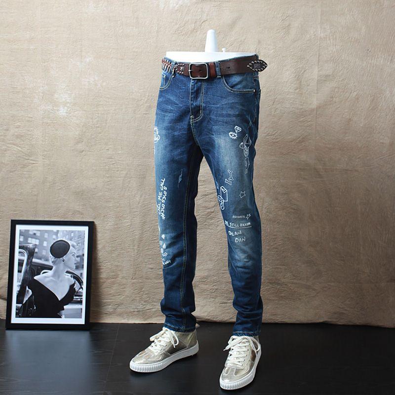 >> Click to Buy << 2017 Good Quality Men's Cotton Slim Blue Jeans Pencil Denim Pants New Fashion Male Printing Stretch jeans Denim Trousers #Affiliate