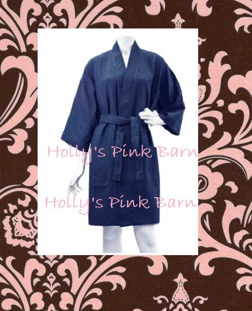 852489c69b Set of 5 Robes 4 Bridesmaids   1 Bridal Personalized Embroidered Navy Blue  Waffle Kimono Short Robe Bridal Party Gifts Pool Party
