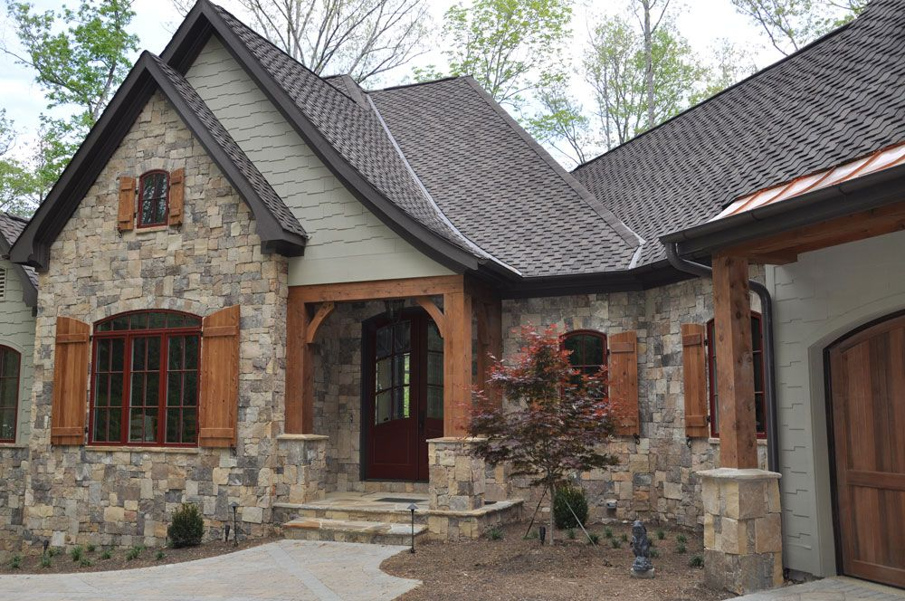 Green color with stone and wood for house exterior house for Cedar siding house plans