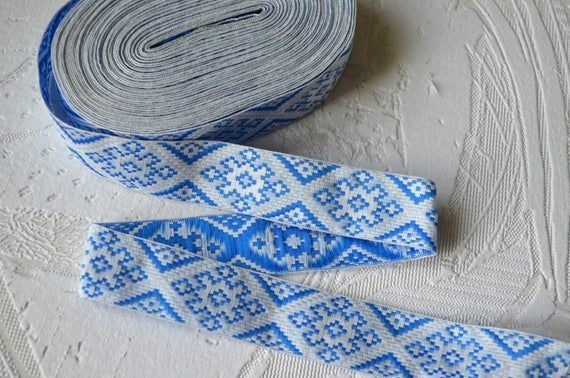 White Blue Silver Gray ribbon trim Embroidery trim by the yard Ukrainian Folklor  Products