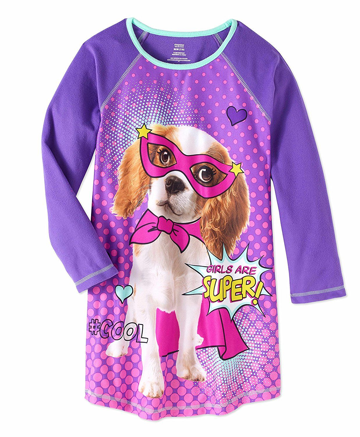 Amazon.com  Girls  Graphic Pajama Long Sleeve Nightgown featuring Puppy 8d8f73747