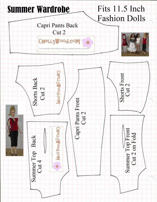 Sewing pattern for Barbie-sized (fashion doll-sized) summer wardrobe ...