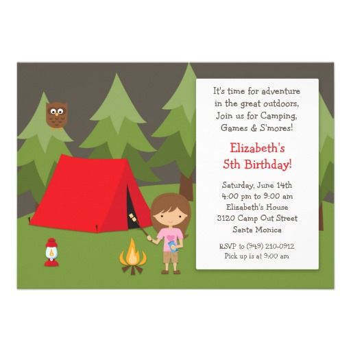 Camping Birthday Party Invitation for Girl from Zazzle.com