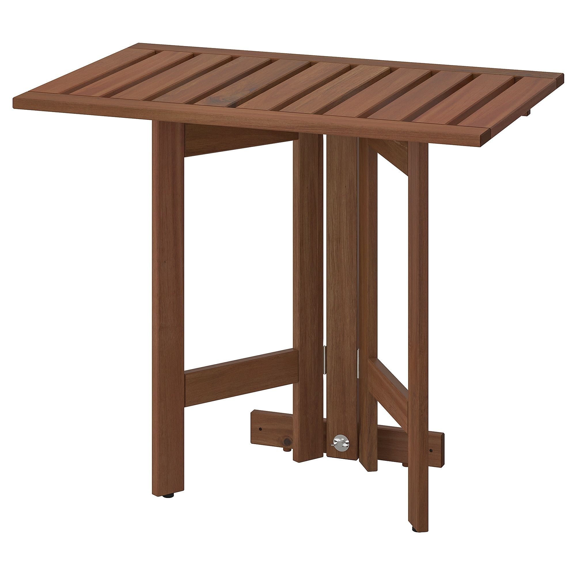 ÄPPLARÖ Gateleg table for wall, outdoor brown stained