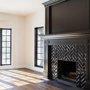 Black Herringbone Fireplace Mantel Tiles