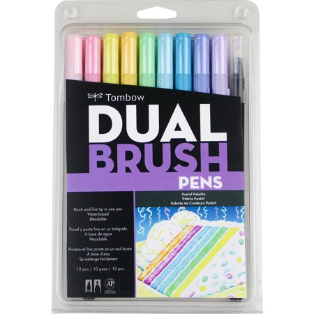 Tombow 56187 Dual Brush Pen Art Markers Pastel 10 Pack Tombow