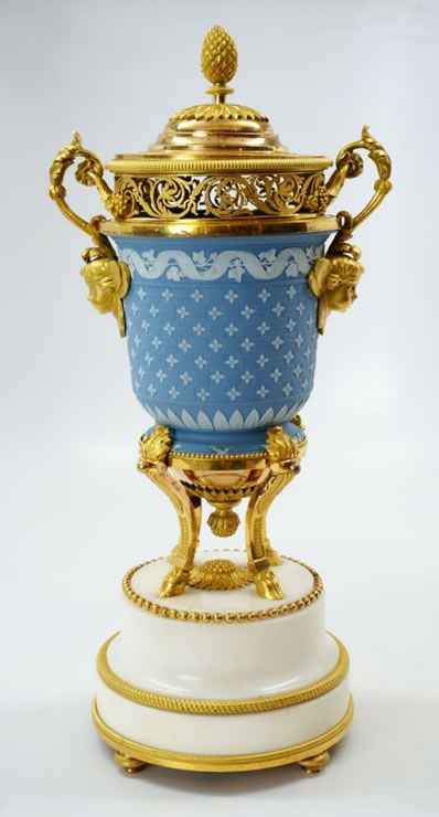 Rare Wedgwood Vase Mounted In Two Color Louis Xvi Ormolu Wedgewood
