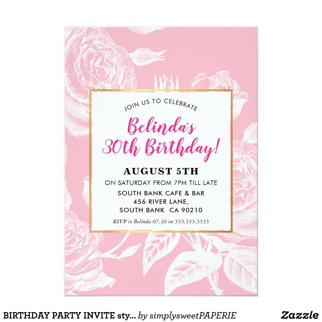 BIRTHDAY PARTY INVITE stylish engraved rose pink #birthdayinvitation ...