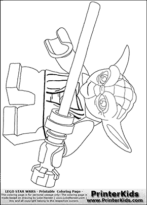 Lego Star Wars   Lightsaber Yoda   Coloring Page