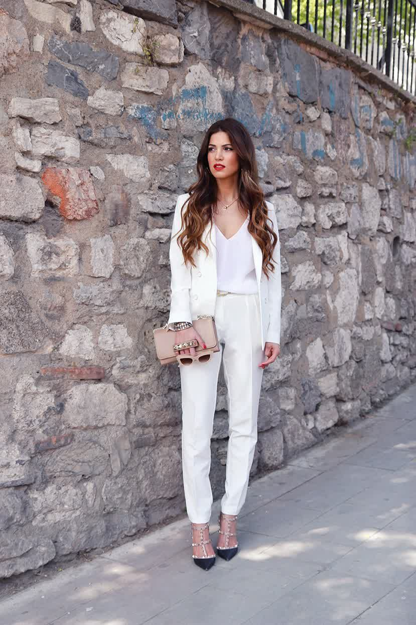 Formal White Pants Suit For Women
