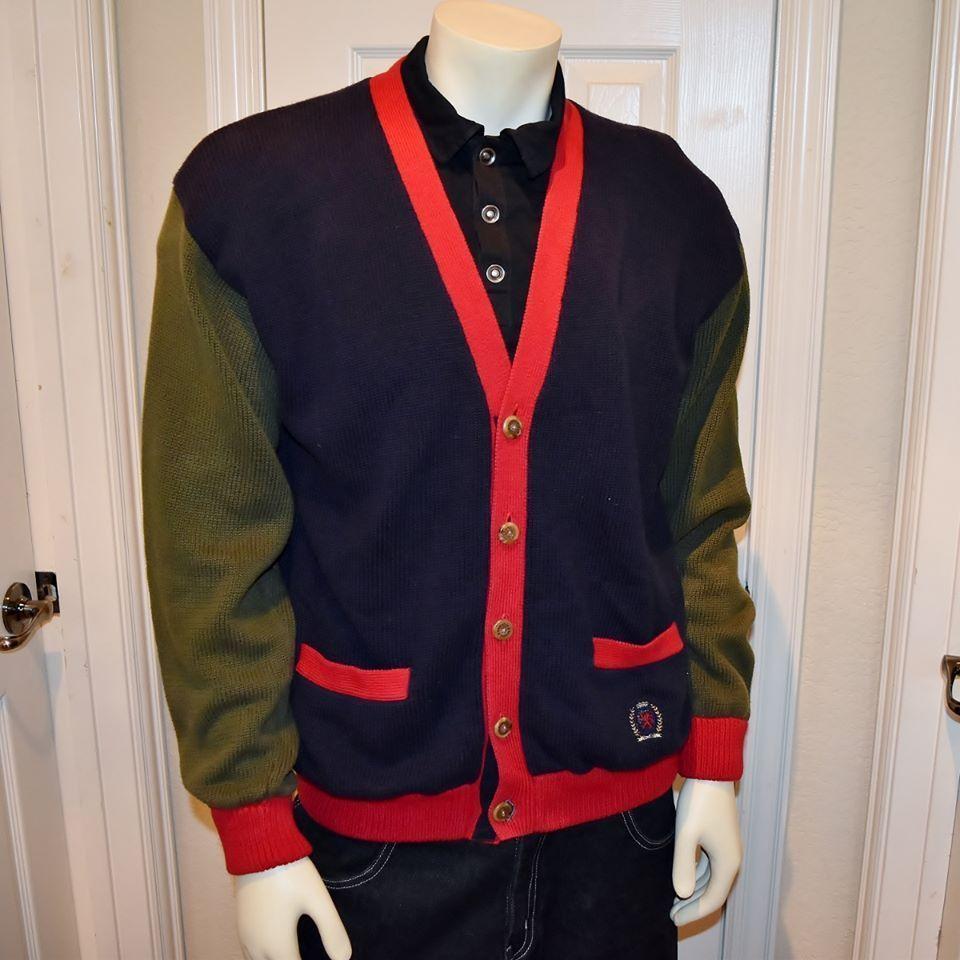 Vintage Tommy Hilfiger Cardigan Button Front Color Block Mens ...