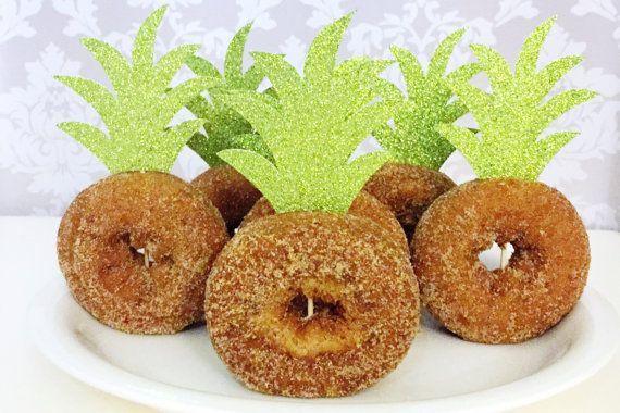 Pineapple Top Donut Toppers, Aloha Cupcake Toppers, Pineapple Baby Shower, Aloha Decor, Hawaiian Party Decor (hawaiian luau party decorations)