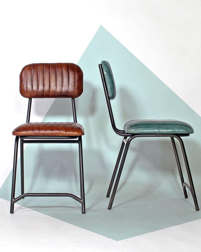 lot de 2 chaises industrielles marron