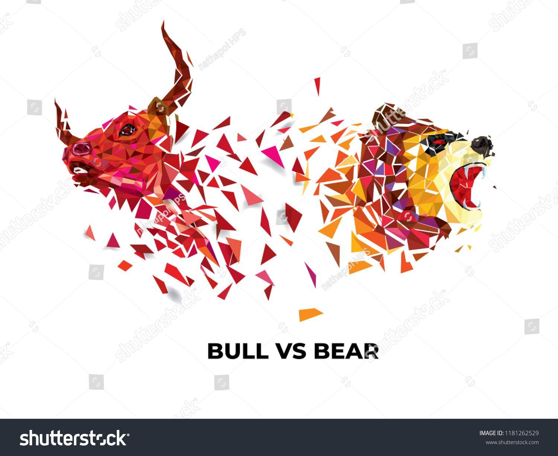 Bull and Bear symbols on stock market vector illustration