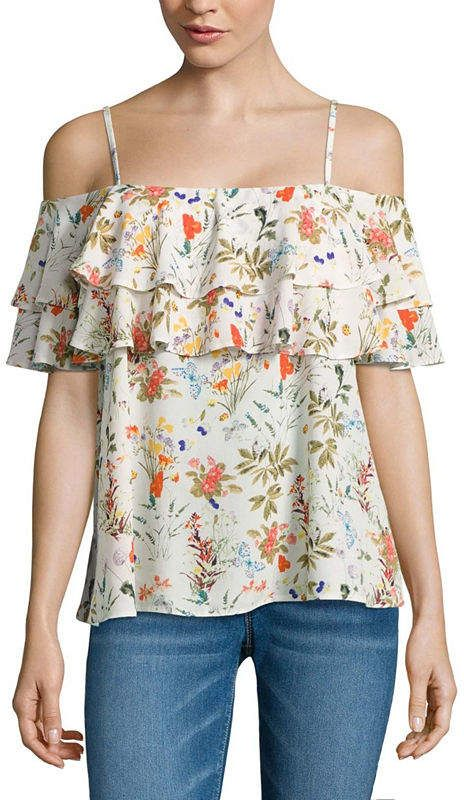 14d284805e671b i jeans by Buffalo Ruffle Cold Shoulder Top
