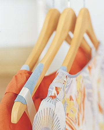 No more slippery clothings sliding off hangers - glue on some ultrasuede fabric. An alternative to purchasing flocked hangers.