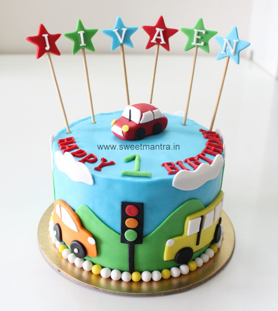 Homemade Eggless 3DCustom Car theme 1st birthday cake for boy at