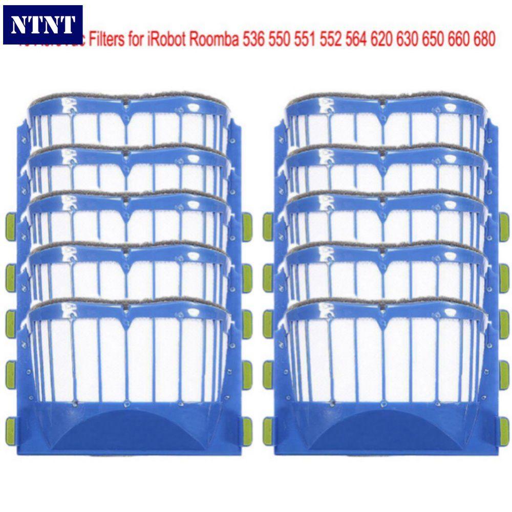 NTNT 10 pcs AeroVac Blue Filters For irobot roomba 536 550