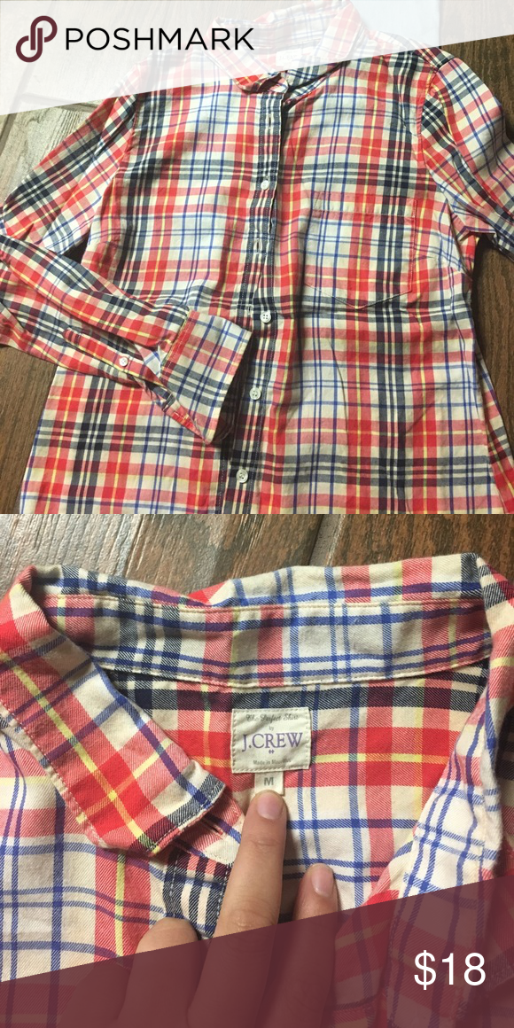 jcrew women's flannel red blue yellow jcrew women's flannel J. Crew Tops Button Down Shirts