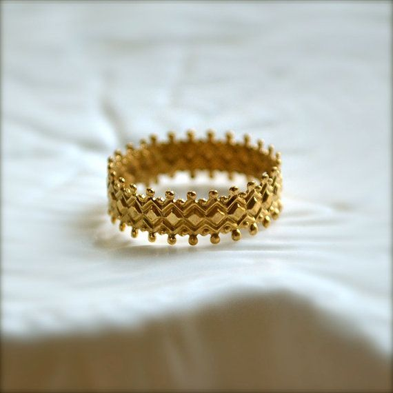 Gold Delicate Patterned Band by illuminancejewelry on Etsy