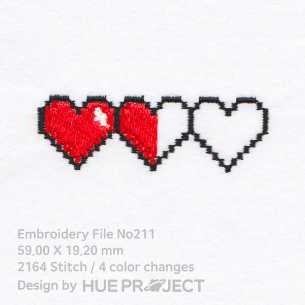 Machine Embroidery No211 Pixel Art Half Heart Hueproject Machineembroiderydesigns Valentine Embroidery Machine Embroidery Hand Embroidery Tutorial