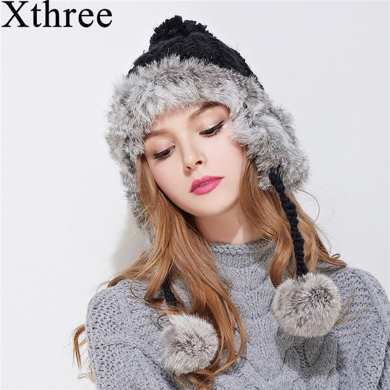73b2905f0bc Xthree ear flaps winter bomber hat for women rabbit fur knitting hat girl  warm s  fashion  clothing  shoes  accessories  womensaccessories  hats  (ebay link)