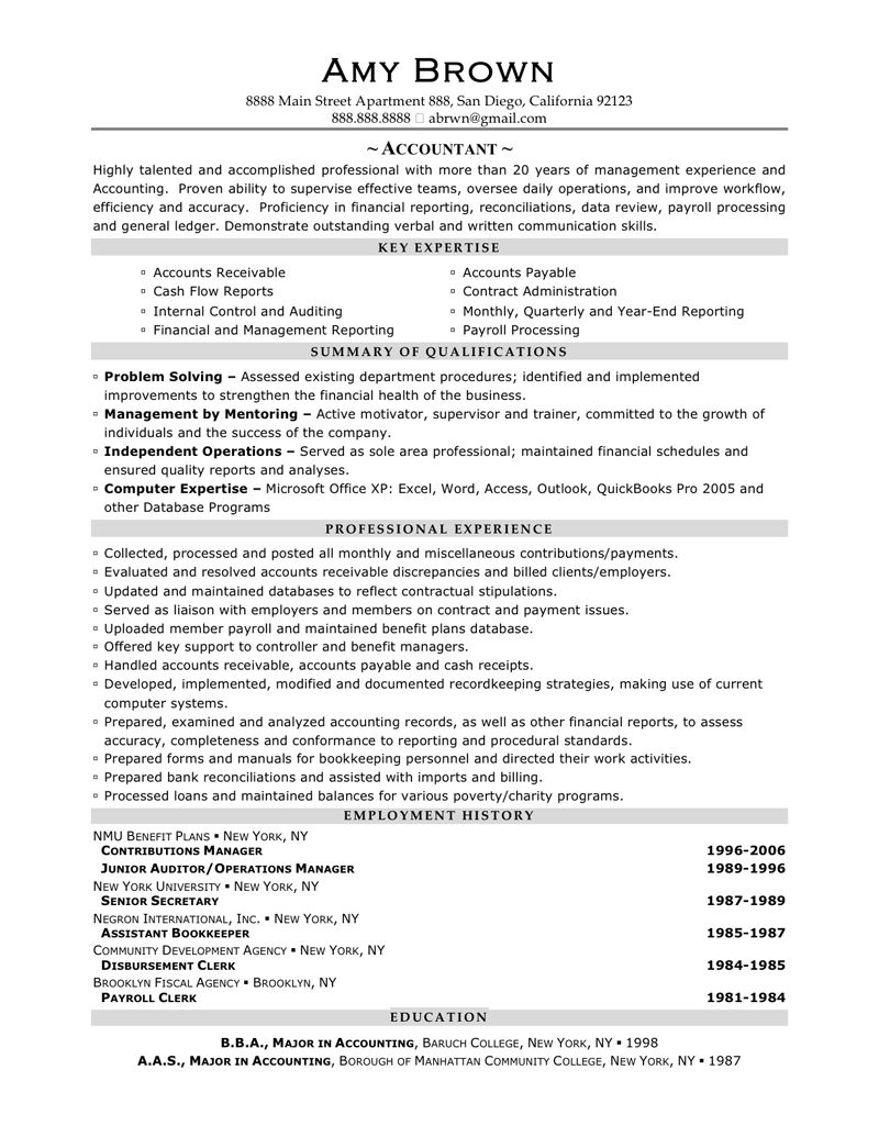 Accountant Resume Sample Amy Brown Writing Services For Entry Level  Accounting Job Templates Within  Sample Resume For Accountant