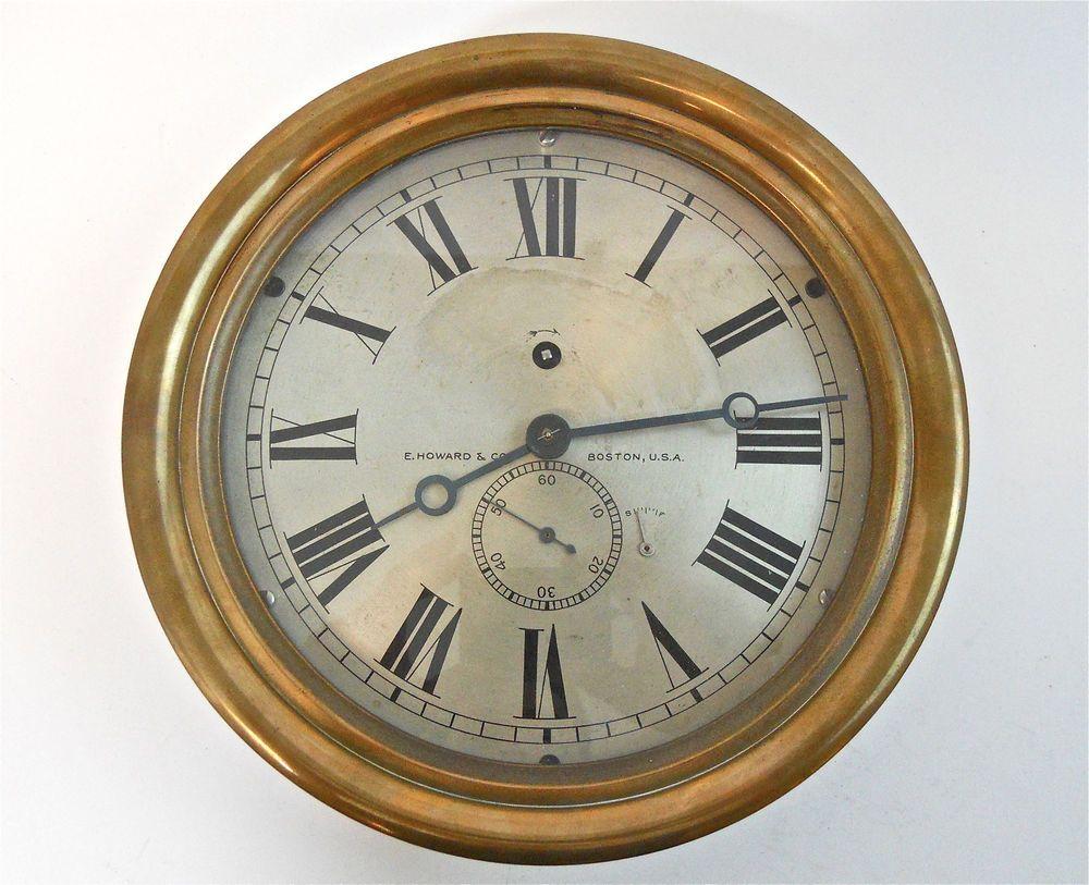 Antique ships engine room clock e howard co boston 8 face antique ships engine room clock e howard co boston amipublicfo Images