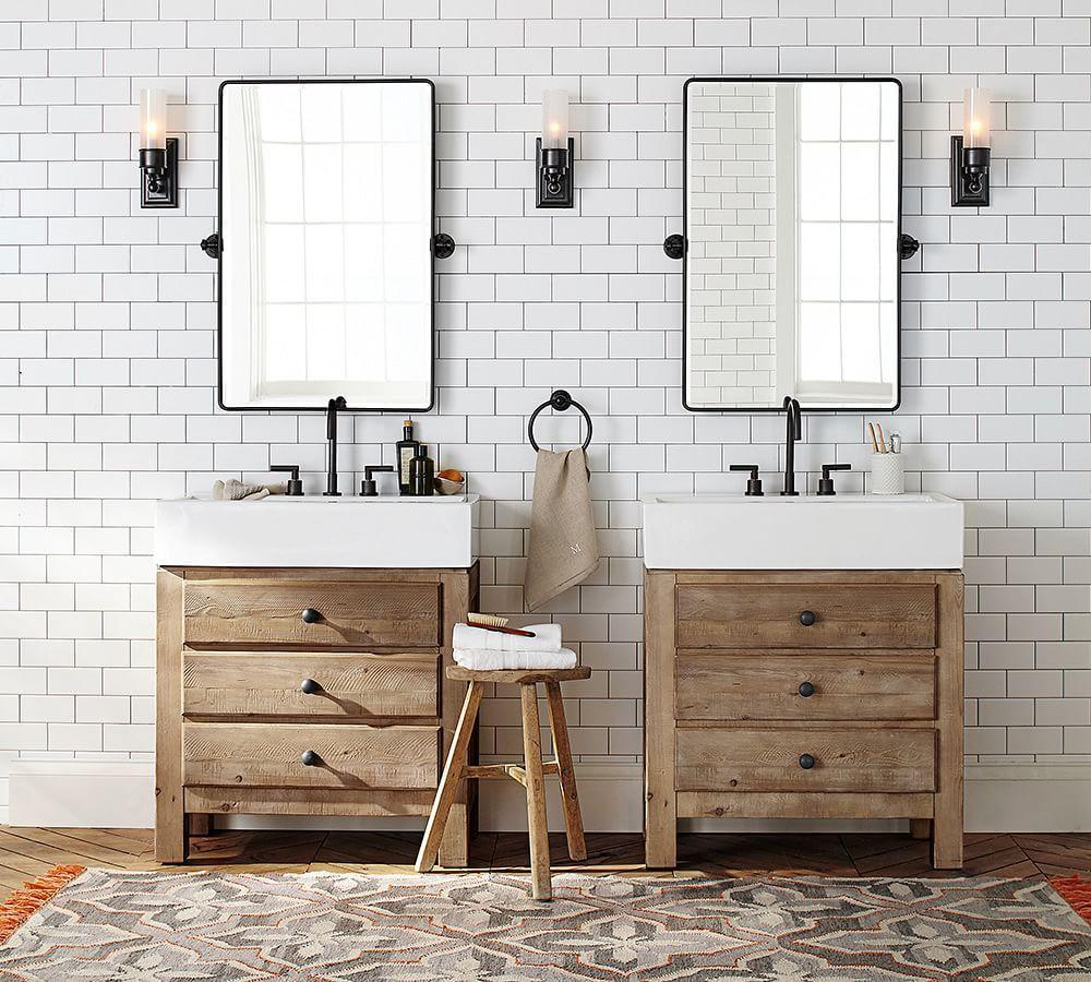 Rustikale vintage badezimmer dekor vintage pivot mirror  pottery barn  bathroom  pinterest