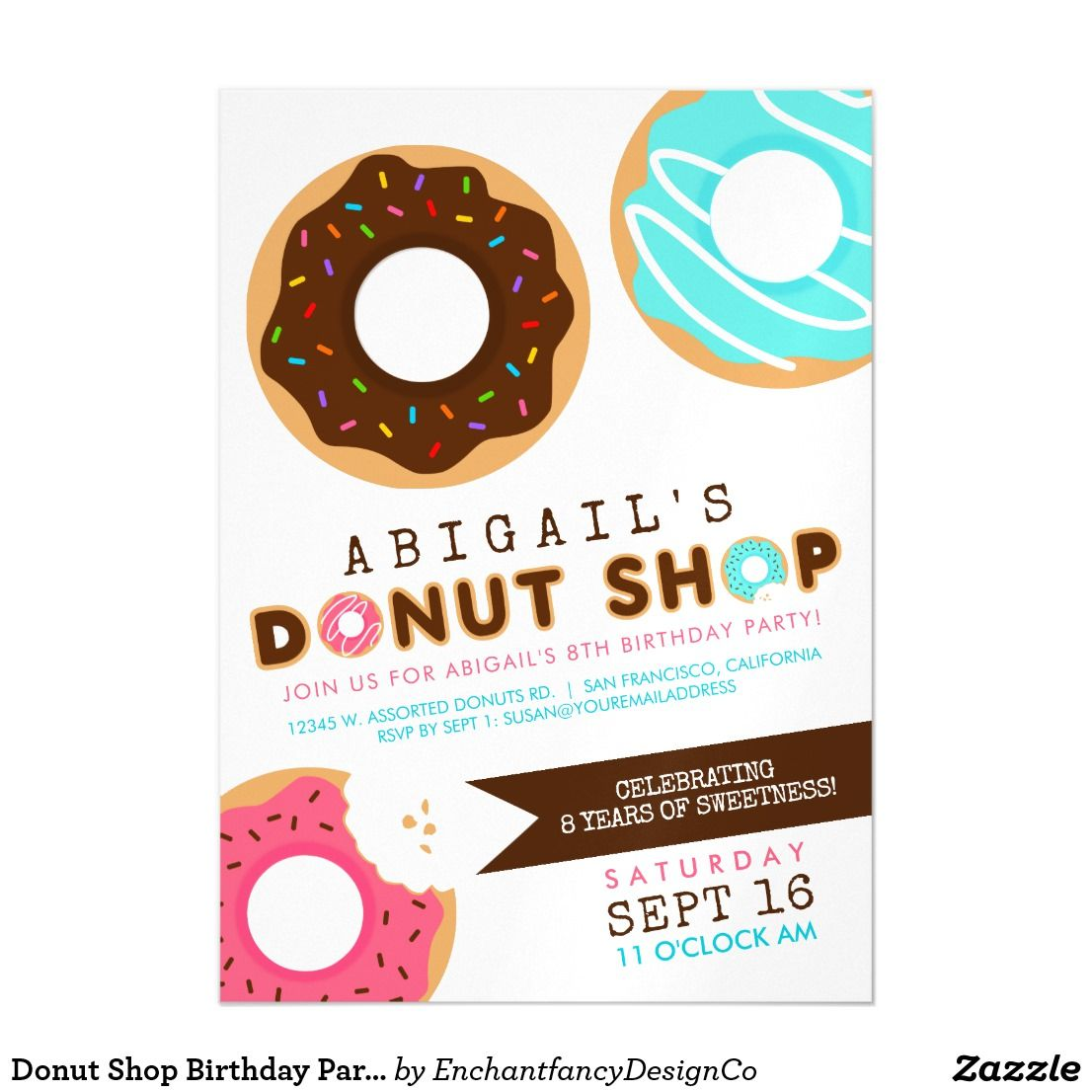 Donut Shop Birthday Party Magnetic Card The Donut Shop Birthday