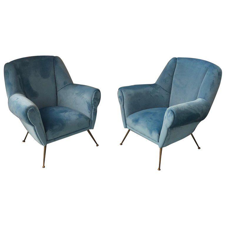 Mid Century Modern Italian Light Blue Velvet And Brass Armchairs