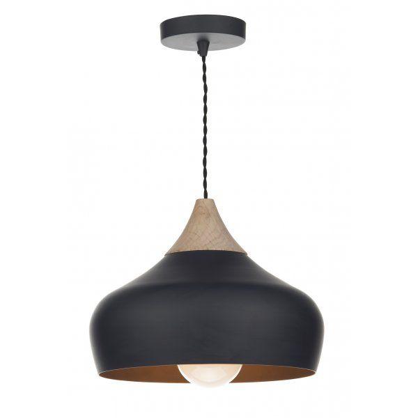 Dar lighting gau0122 gaucho single light ceiling pendant in a matt black finish with wood detail