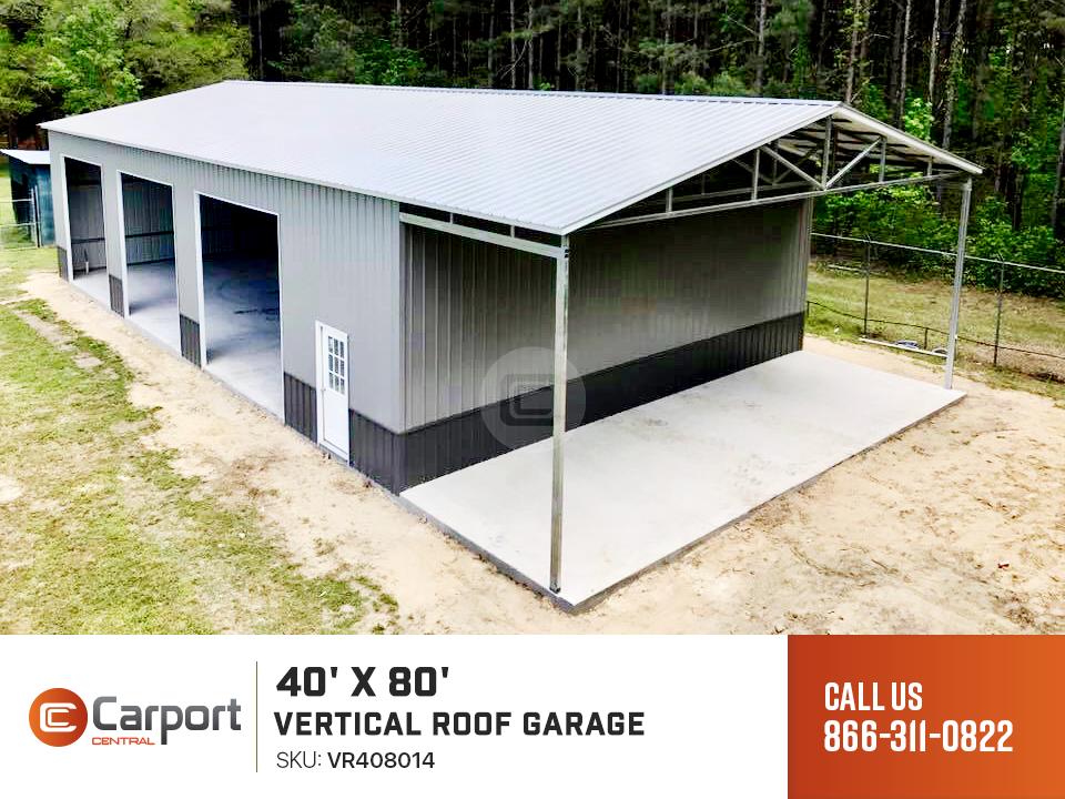 40 X 80 Vertical Roof Garage 40 X 80 Steel Garage Building Prices Metal Garages Steel Garage Buildings Metal Roof