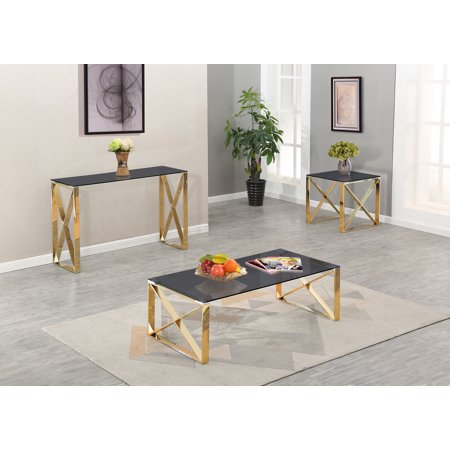 Modern Clear Glass Gold Stainless Steel Coffee Table Set
