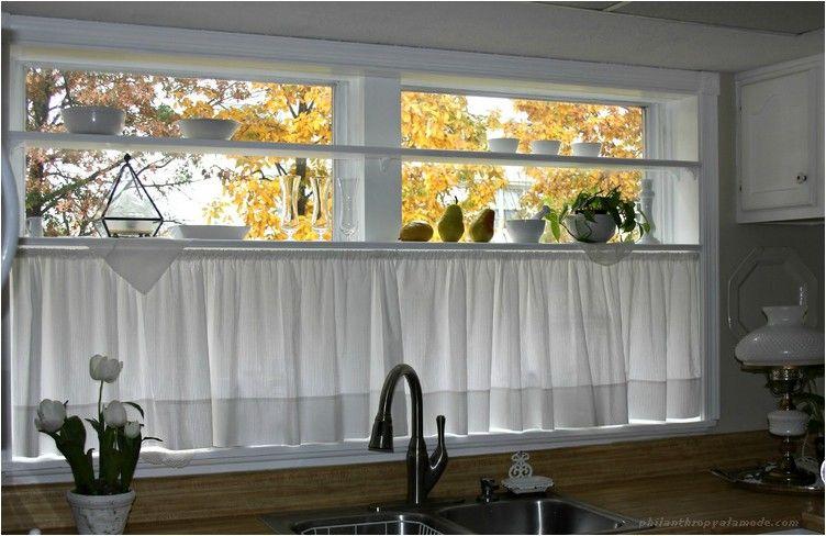 White Kitchen Half Window Curtains Near Sink