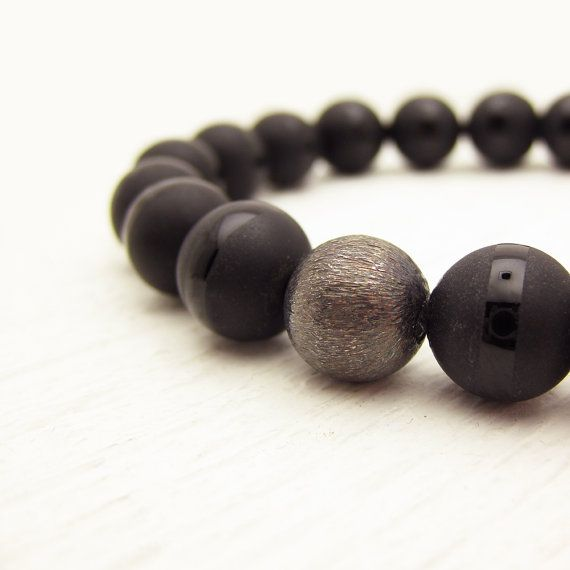 bracelet page tube stretchy silver beaded men mens product black matte file onyx w with s sterling