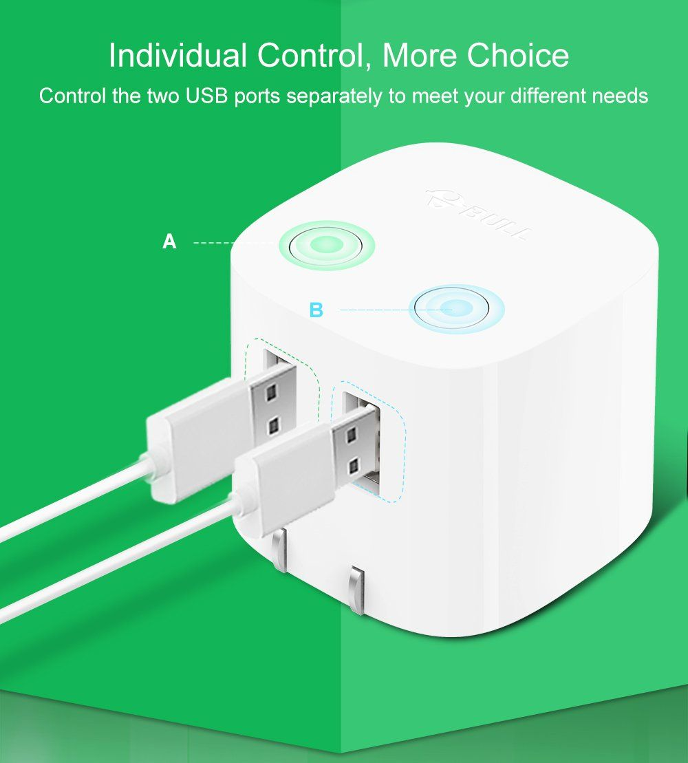 Bull dual usb wall charger with smart auto poweroff