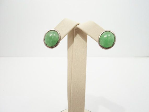 Green Apple Jade  Post Earrings by AlmightySale on Etsy