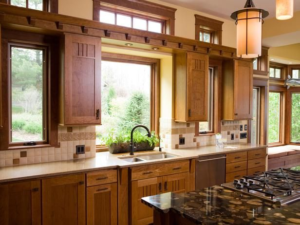 Wood Kitchen Love The Mix Of Windows And Upper Cabinets In This Kitchen As Well As The High Windows In 2020 Craftsman Kitchen Kitchen Styling Craftsman Style Kitchen