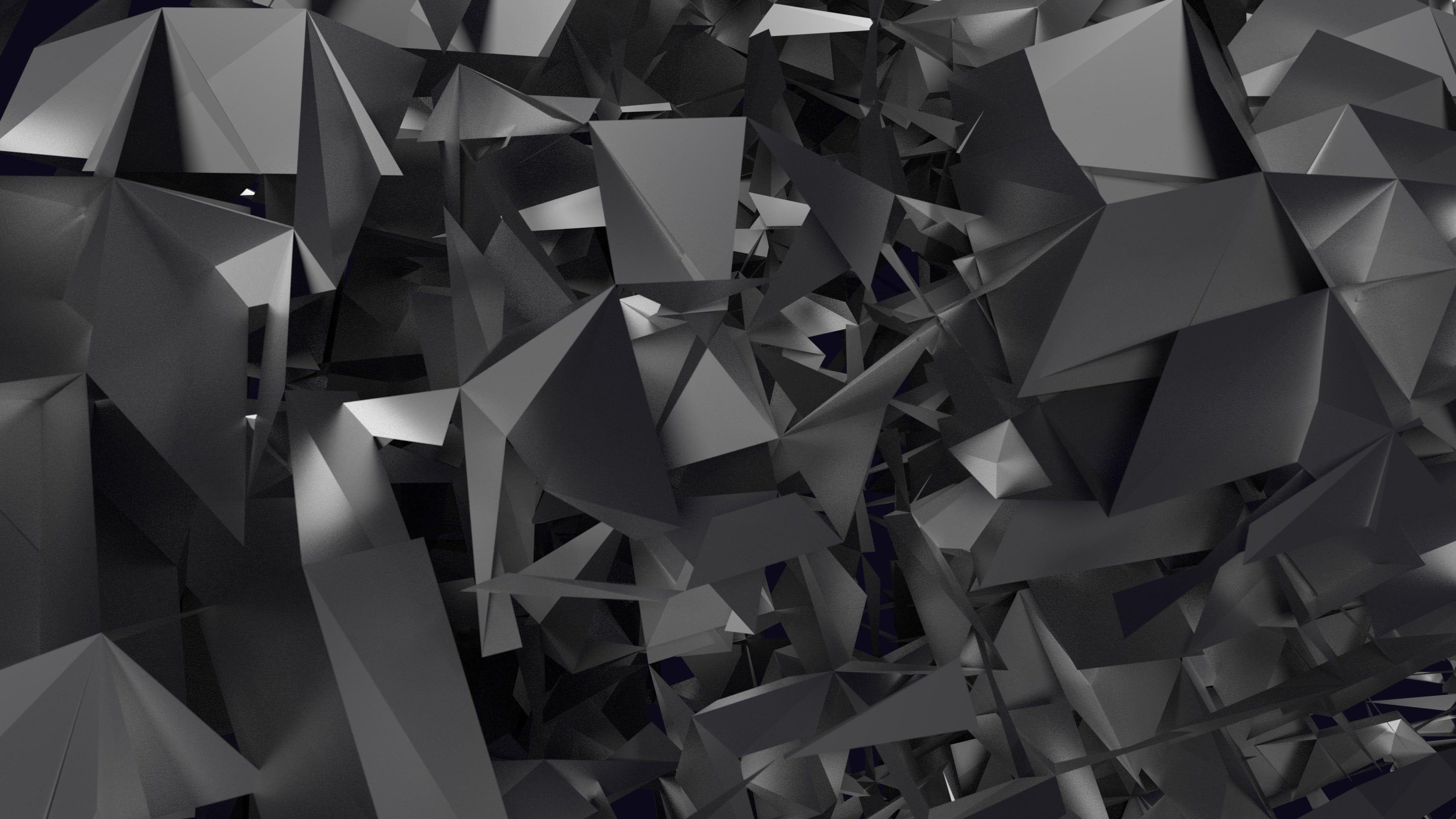 Grey And Black Prisim Illustration Grayscale Digital Wallpaper Abstract Geometry 4k Wallpaper H Abstract Wallpaper Geometric Shapes Art Digital Wallpaper Geometric desktop wallpaper 4k