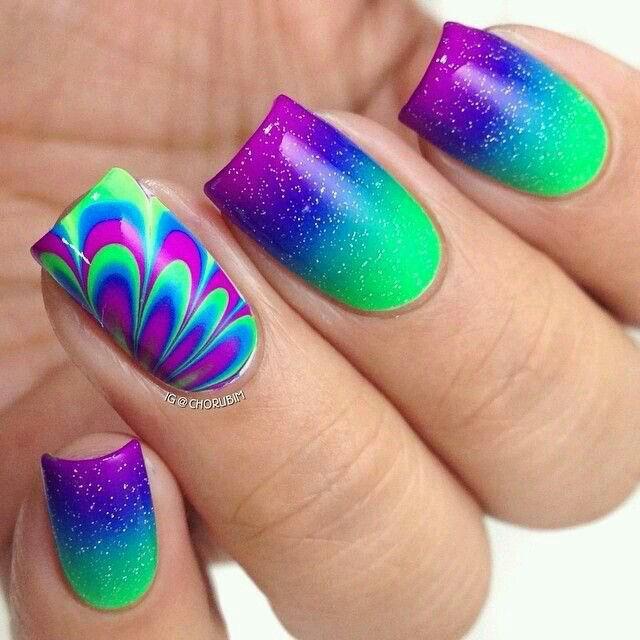Easy Rainbow Glitter Water Marble Nail Art Designs Nailart Nails Watermarble Nagelideen Nageldesign Nagel Inspiration