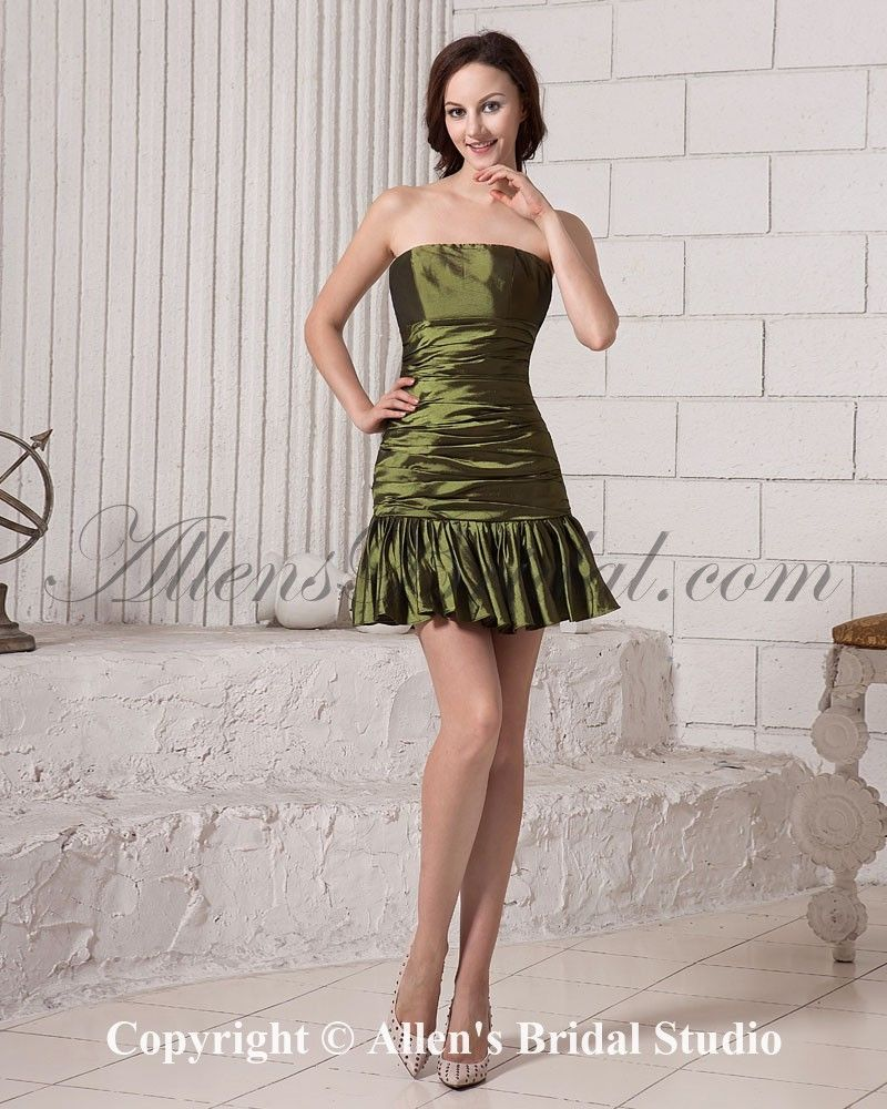 39056680778 Taffeta Strapless Short Sheath Cocktail Dress with Ruffle on sale at  affordable prices