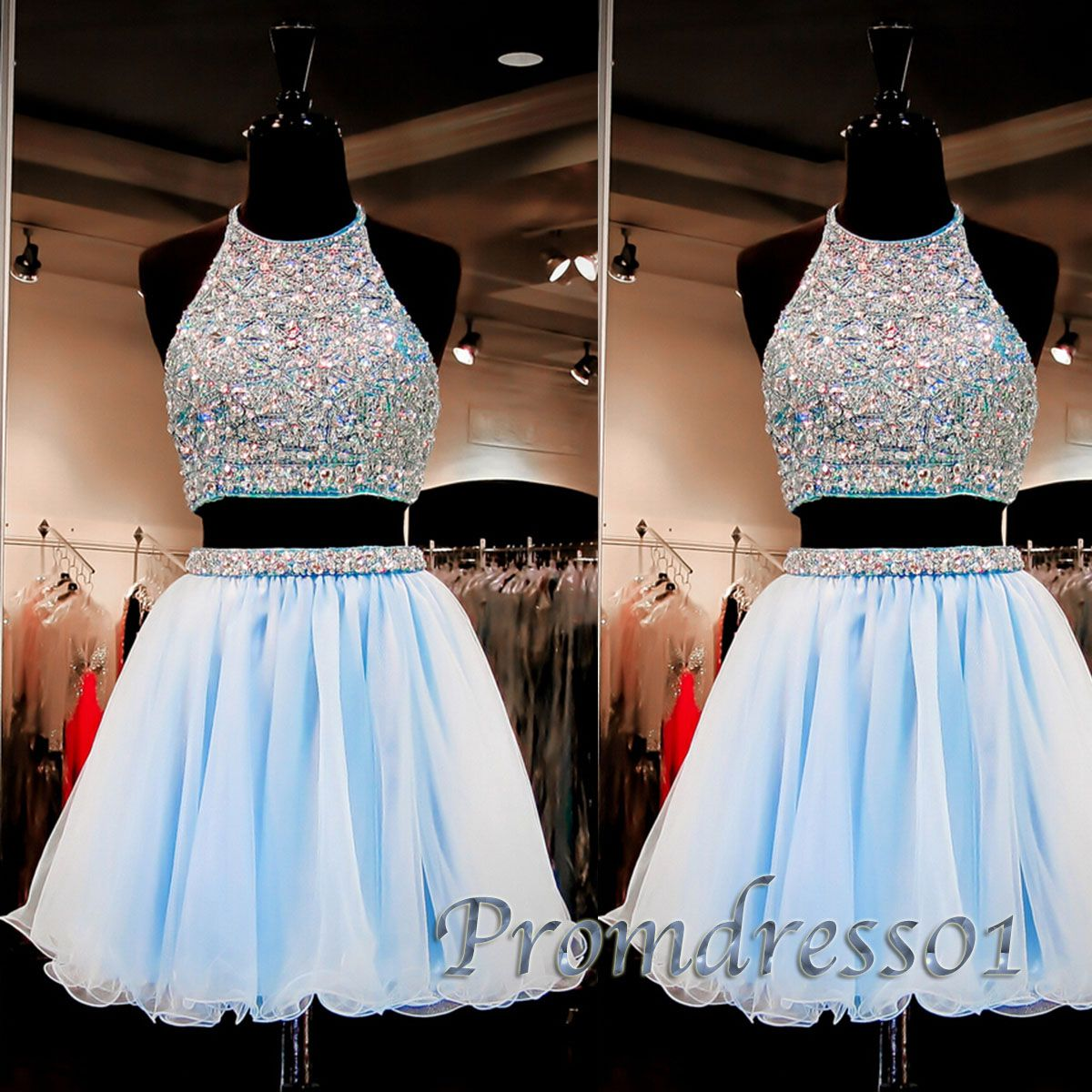 Prom dress prom dresses short two pieces beaded light blue