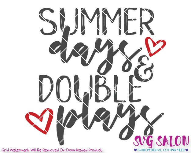 cd03014ce84a Summer Days and Double Plays Cut File Set in SVG