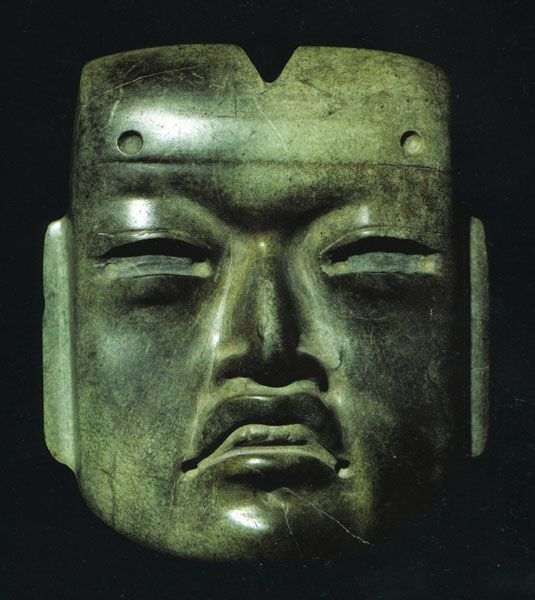 Olmec-style jade mask with cleft head