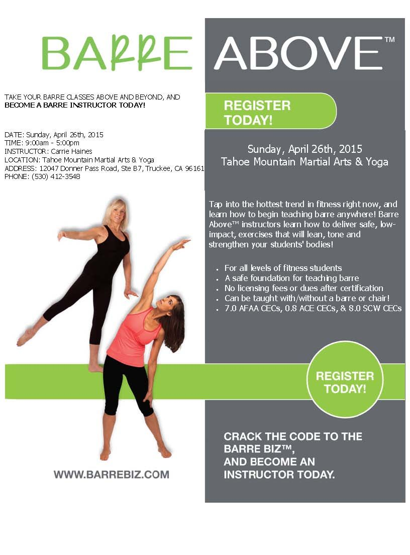 Barre above instructor training fitness continuing education barre above instructor certification course sports west athletic club in reno nevada 1betcityfo Choice Image