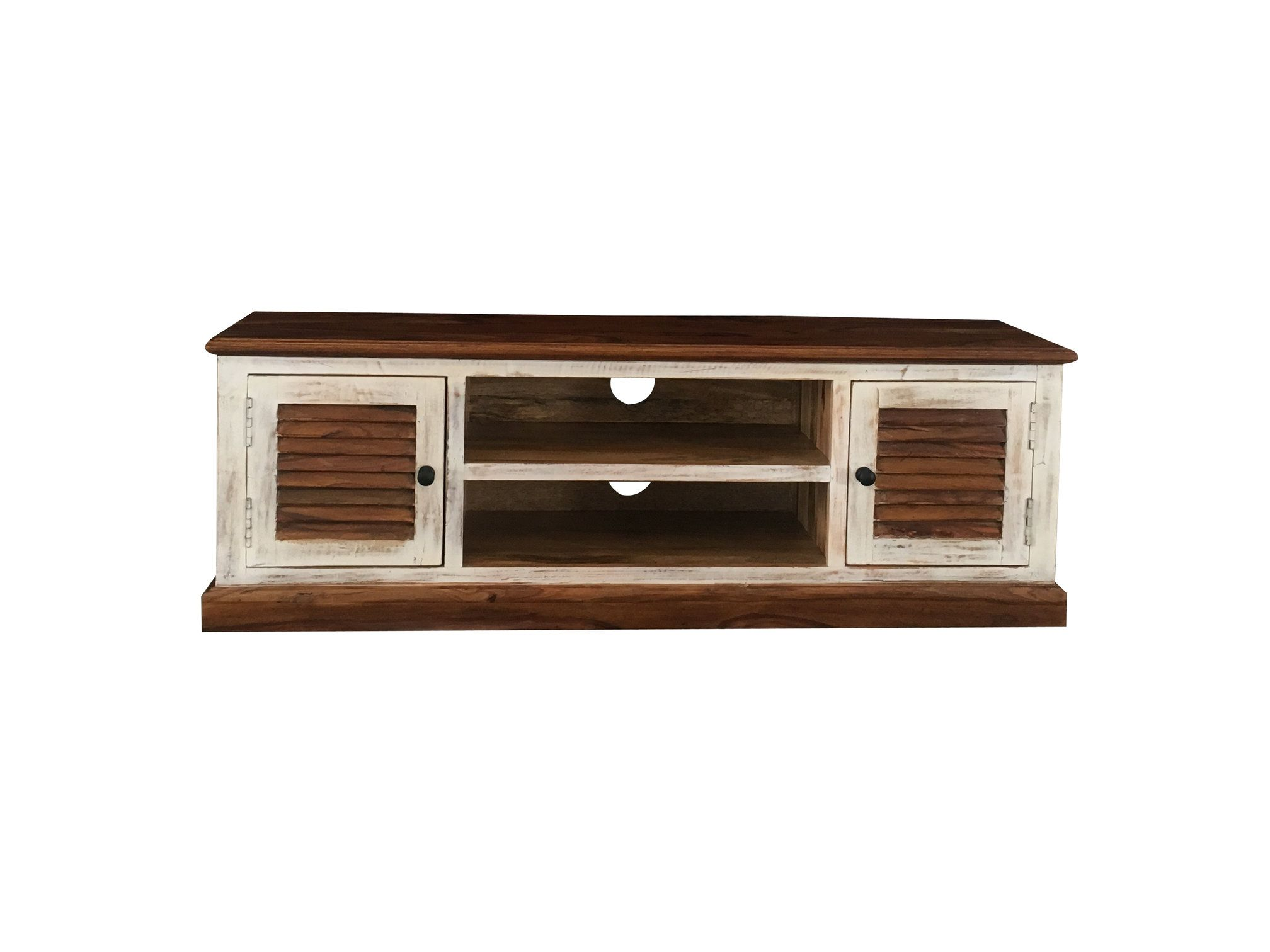 White Washed Sheesham Wood Tv Stand With Shutter Style Drawers