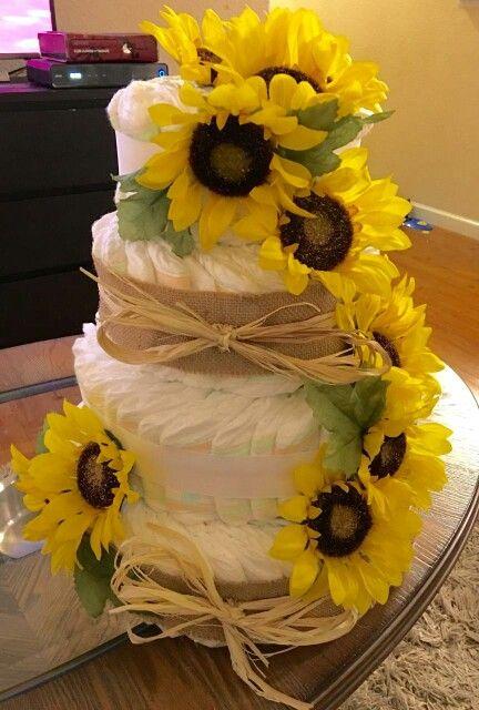 bad71833a01 3 tier sunflower diaper cake. 3 tier sunflower diaper cake Baby Shower ...